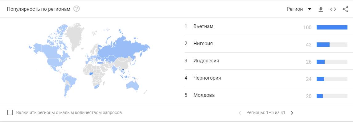 Статистика Google Analytics на карте по запросам платформы Binomo