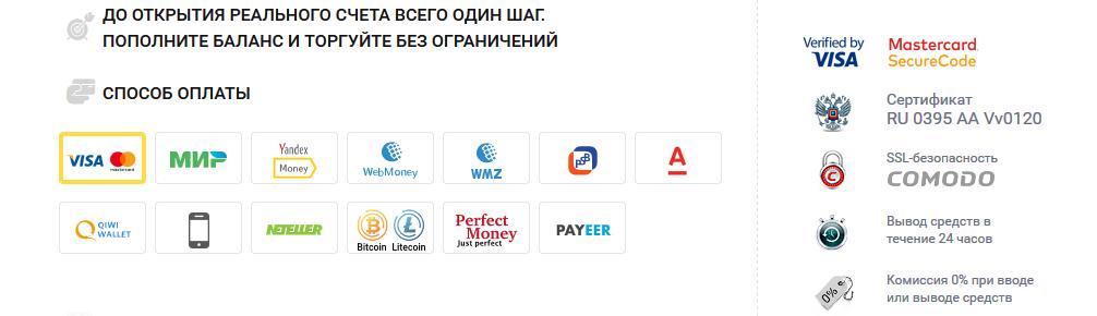 Ввод/вывод средств на платформе Биномо