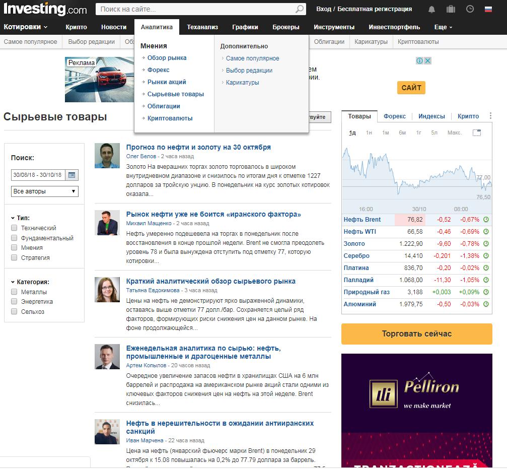 """Раздел """"Аналитика"""" на сайте Investing.com"""