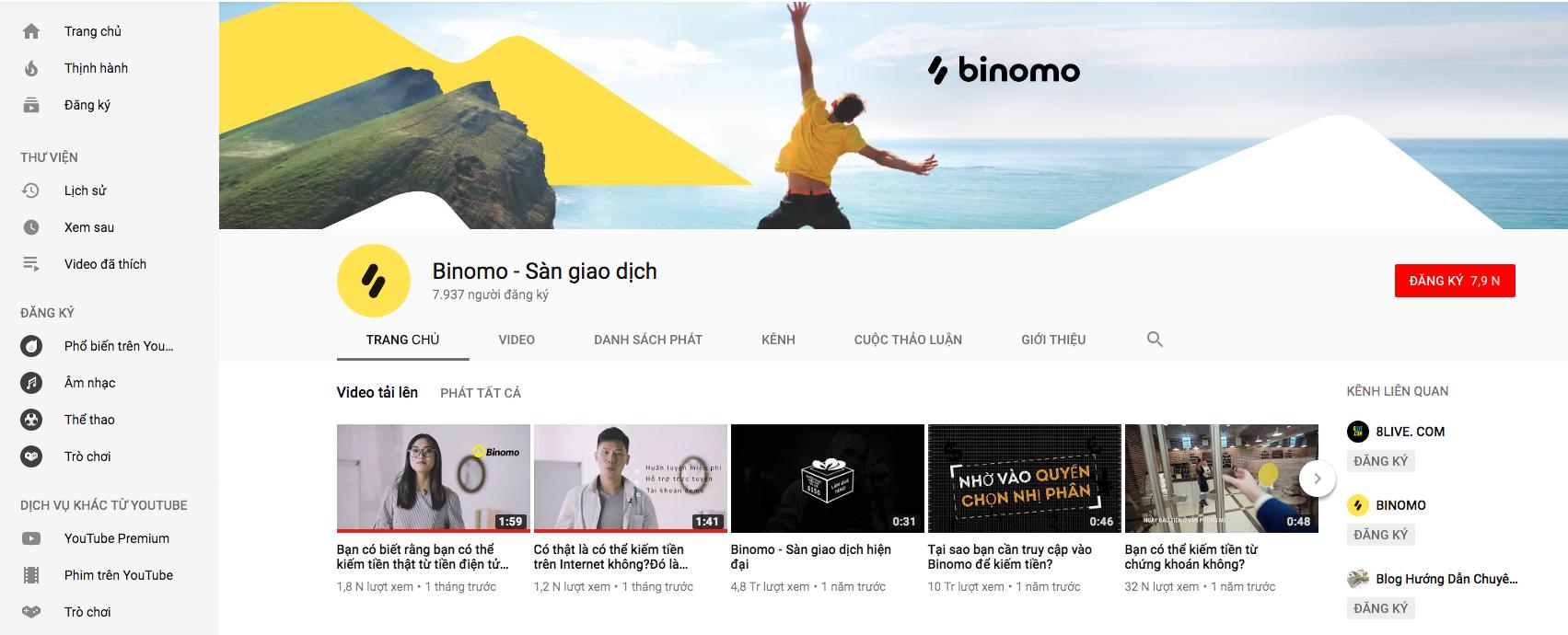 đăng kí theo dõi kênh Youtube của Binomo